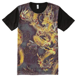 Most Popular Chinese Gold Emperor Dragon Dark Art All-Over Print T-Shirt