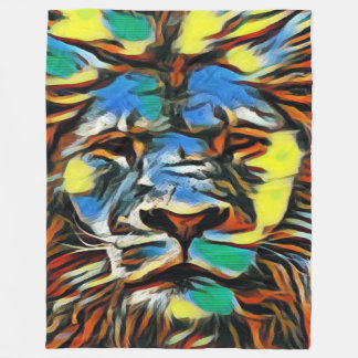 Most Popular Colorful Acrylic Lion of Judah Art Fleece Blanket