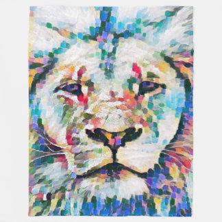 Most Popular Colorful Lion Face Impressionist Art Fleece Blanket