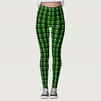 Most Popular Green Alien Crossbones Symbol Pattern Leggings