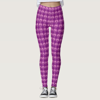 Most Popular Pink & Purple Peace Sign Pattern Leggings