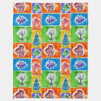 Most Popular Watercolor Leaf Journal Pattern Fleece Blanket