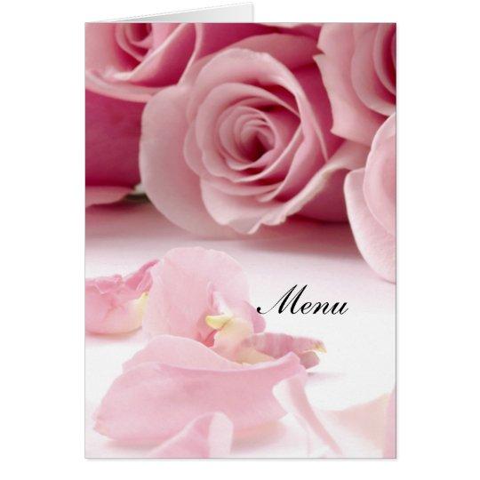 Most Popular Wedding Menu Pink Roses Card