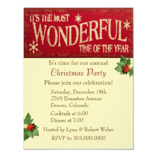 Most Wonderful Time Christmas Party 11 Cm X 14 Cm Invitation Card