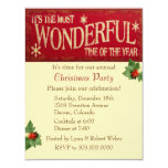 Most Wonderful Time Christmas Party Personalized Invitations