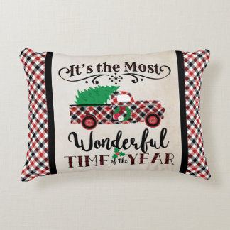 Most Wonderful Time Christmas Plaid Truck Pillow