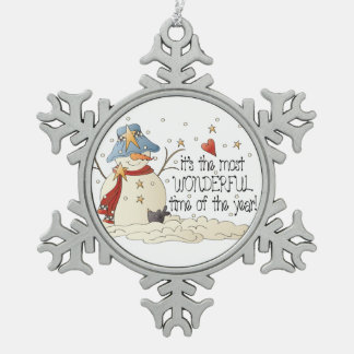 Most wonderful time snowman Christmas ornament