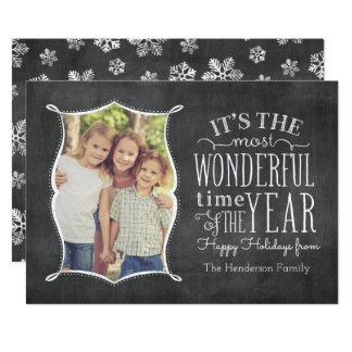 Most Wonderful Time Vintage Chalkboard Holida Card 13 Cm X 18 Cm Invitation Card