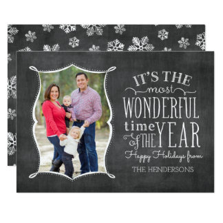 Most Wonderful Time Vintage Chalkboard Holida Card 13 Cm X 18 Cm Invitation Card