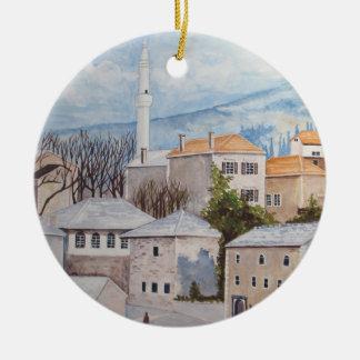 Mostar, Bosnia - Acrylic Townscape Painting Christmas Ornament