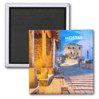 Mostar Old City magnet, Bosnia Square Magnet