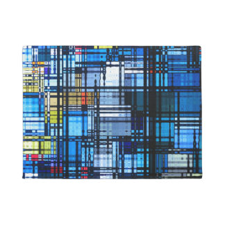Mostly Blue Modern Abstract Doormat