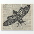 Moth Insect  Vintage Illustration on Old Book Page Wrapping Paper