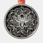 Moth Mandala Silver-Colored Round Decoration