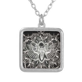 Moth Mandala Silver Plated Necklace