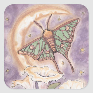 Moth & Moonflowers Square Stickers