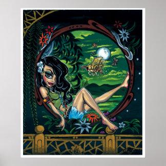 'Moth Nite' art print - (pop surreal pin-up)
