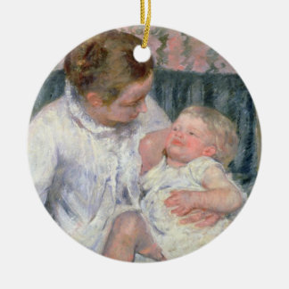 Mother about to Wash her Sleepy Child, 1880 (oil o Christmas Ornament