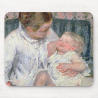 Mother about to Wash her Sleepy Child, 1880 (oil o Mousepad