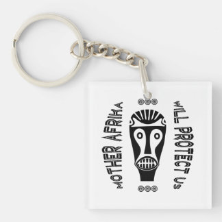 Mother Africa Will Protect Us Double-Sided Square Acrylic Key Ring