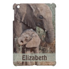 Mother and Baby African Elephant Personalised iPad Mini Cover