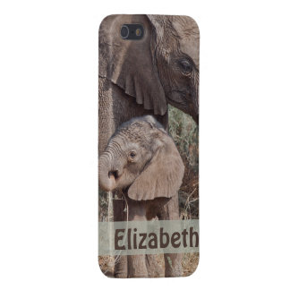 Mother and Baby African Elephant Personalized iPhone 5 Case