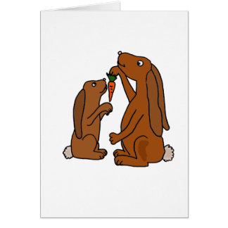 Mother and Baby Brown Rabbit Cartoon Greeting Card