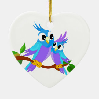 Mother and Baby Cartoon Parrots Christmas Ornament