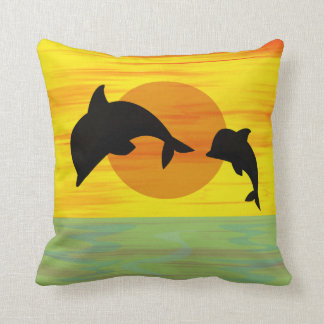 Mother and Baby Dolphin at Sunset Cushion