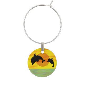 Mother and Baby Dolphin at Sunset Wine Charm