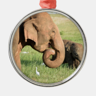 Mother and baby elephant christmas ornament