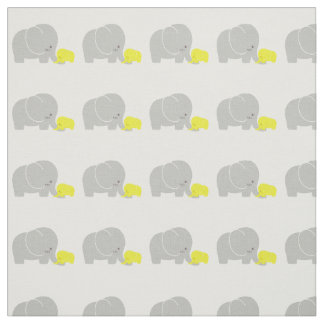 Mother and Baby Elephant Patterned Fabric