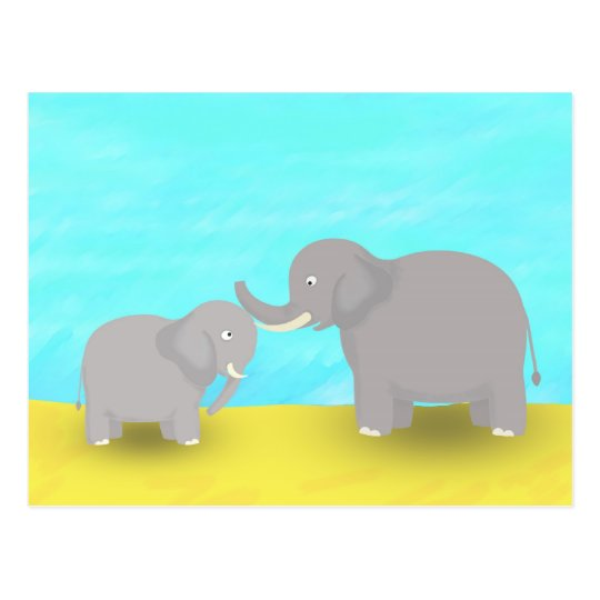 Mother and Baby Elephants Postcard