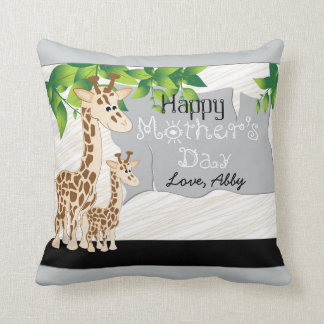 Mother and Baby Giraffe Mother's Day Custom Pillow