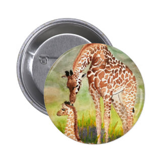 Mother and Baby Giraffes 6 Cm Round Badge