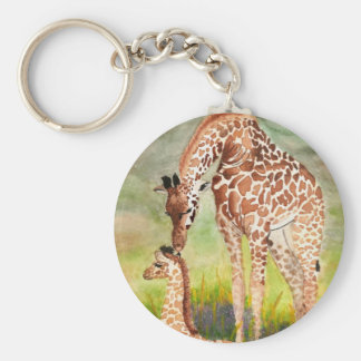 Mother and Baby Giraffes Basic Round Button Key Ring