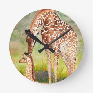 Mother and Baby Giraffes Round Clock