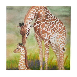 Mother and Baby Giraffes Small Square Tile
