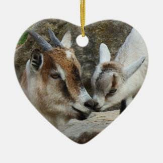 Mother and Baby Goat Valentine's Day Heart Christmas Ornament