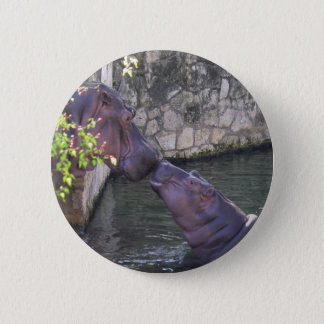 Mother and Baby Hippo Greeting 6 Cm Round Badge