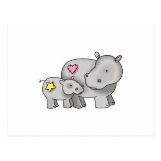 MOTHER AND BABY HIPPO POSTCARD