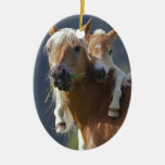 Mother and Baby Horse Ceramic Oval Decoration