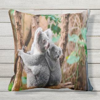 Mother And Baby Koala Bears Outdoor Cushion