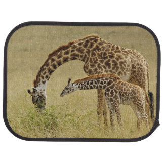 Mother and baby Masai Giraffe, Giraffa Floor Mat