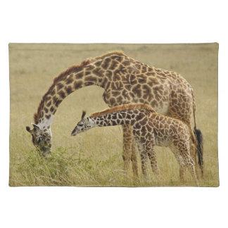 Mother and baby Masai Giraffe, Giraffa Placemats