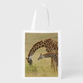 Mother and baby Masai Giraffe, Giraffa Reusable Grocery Bag