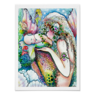 Mother and baby Mermaid Poster