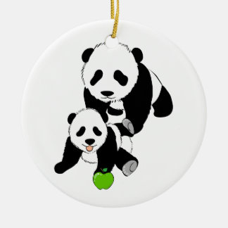 Mother and Baby Panda Bears Round Ceramic Decoration