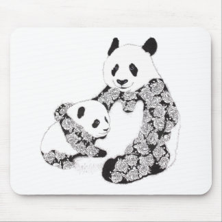Mother and Baby Panda Illustration Mouse Pad