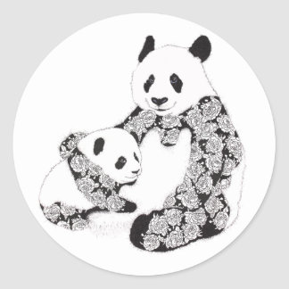 Mother and Baby Panda Illustration Round Stickers